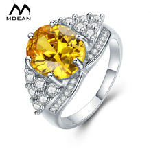 MDEAN White Gold Color Engagement Rings for Women Wedding Yellow Sweet AAA Zircon Jewelry Bague Bijoux Size 6 7 8 9 10 H020
