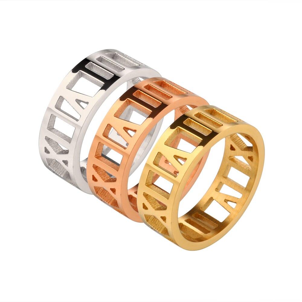 Μόδα κοίλο Ρωμαϊκά αριθμητικά δαχτυλίδια αυξήθηκε χρυσό χρώμα δαχτυλίδια από ανοξείδωτο χάλυβα για άνδρες γυναίκες εραστή δαχτυλίδι κοσμήματα αξεσουάρ