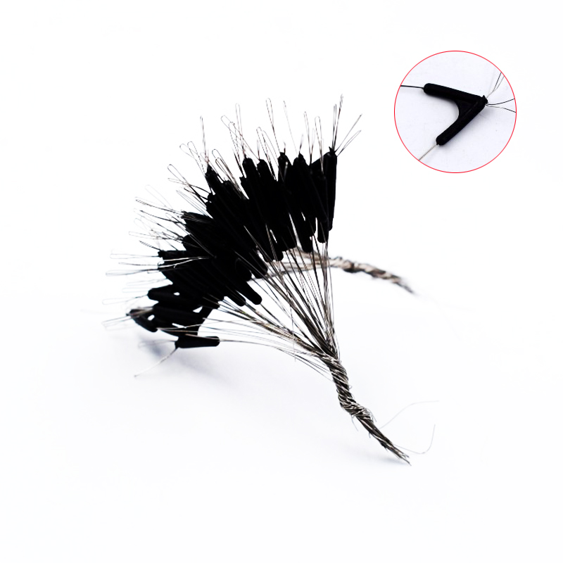 Simpleyi 50pcs lot Double Hooks Contactor Device Fishing Line Space Bifurcation Eight Type Space Bean Line Swivel Tying Tool in Fishing Tackle Boxes from Sports Entertainment