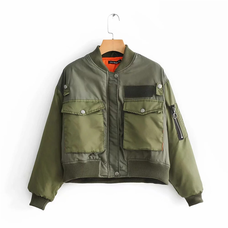 Winter thick Coat Women loose   basic     jacket   Spring Autumn Long Sleeve Casual Military Army Green Bomber   Jacket   Female Outwear