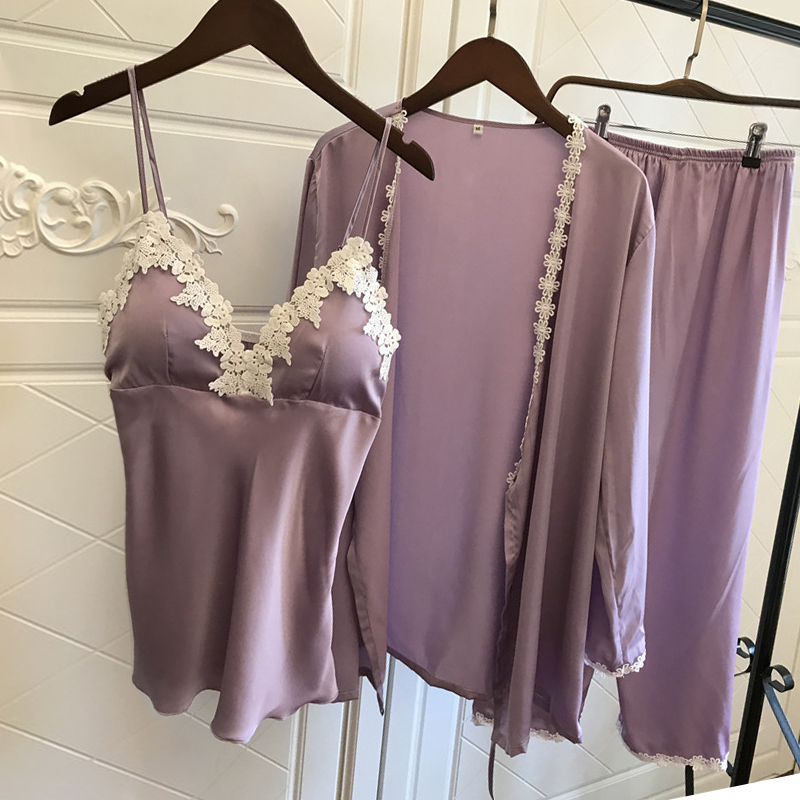 Satin   Pajamas   for Women Elegant 3Pieces Sleepwear Female Sexy Lace At All Seasons Silk   Pajamas     Set   Coat+Vest+Pants 2017 Pijamas