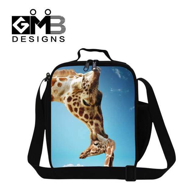 New design deer 3D printed insulated lunch bag for kids,women's work lunch bag,animal lunch box bag for girls with bottle holder