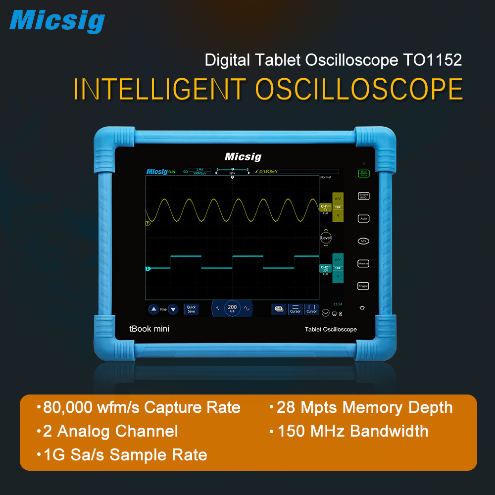 Micsig 2017 Digital Tablet Oscilloscope TO1152 150MHz 2CH 1G Sa/s real time sampling rate automotive Oscilloscopes kit new come|automotive oscilloscope|oscilloscope kit|tablet oscilloscope - title=