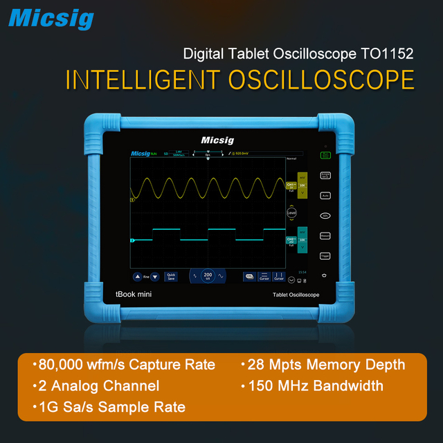 Special Offers Micsig 2017 Digital Tablet Oscilloscope TO1152 150MHz 2CH 1G Sa/s real time sampling rate automotive Oscilloscopes kit new come