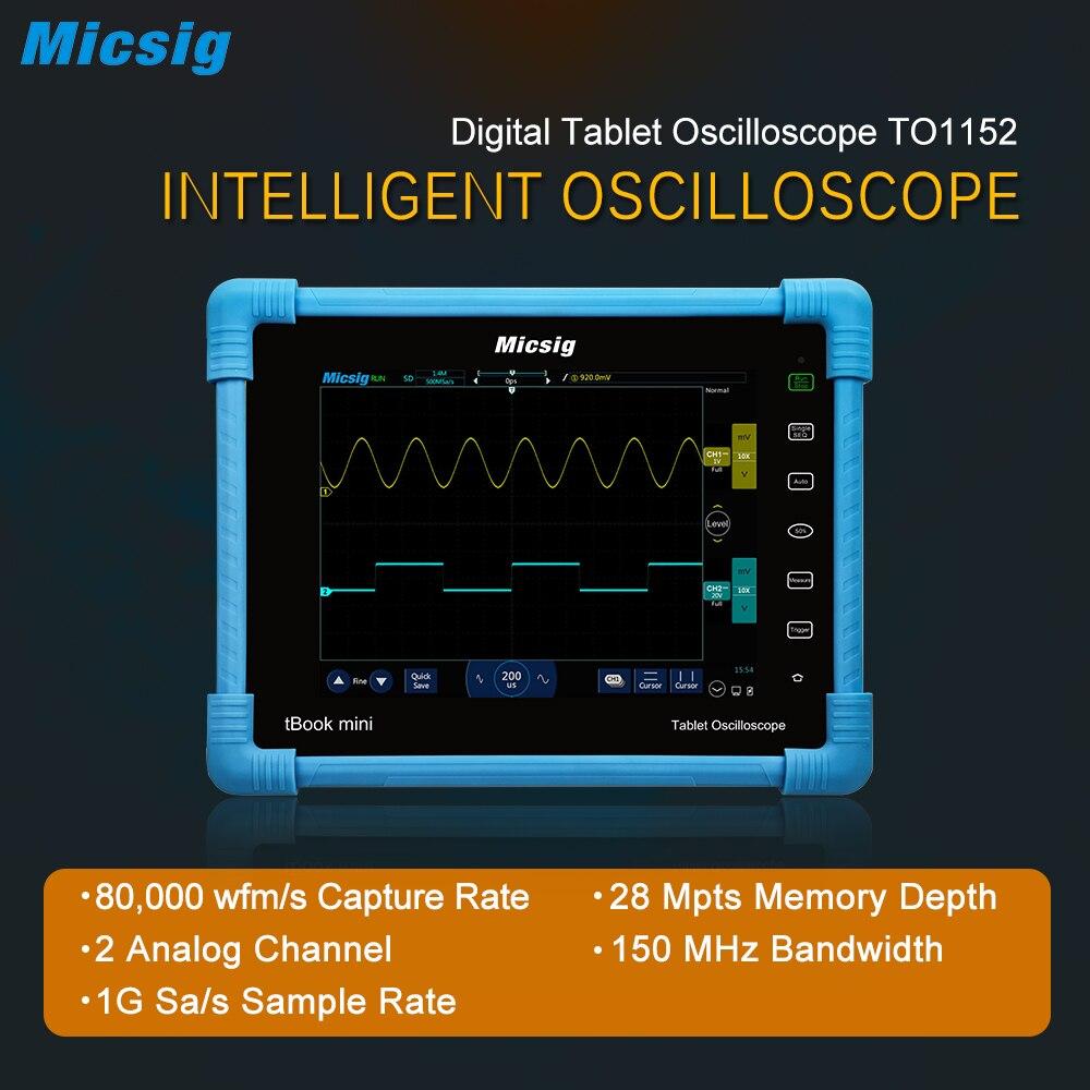 TO1152 Micsig 2017 Tableta Digital Osciloscopio 150 MHz 2CH 1G Sa/s frecuencia de muestreo en tiempo real Osciloscopios de automoción kit nuevo venir