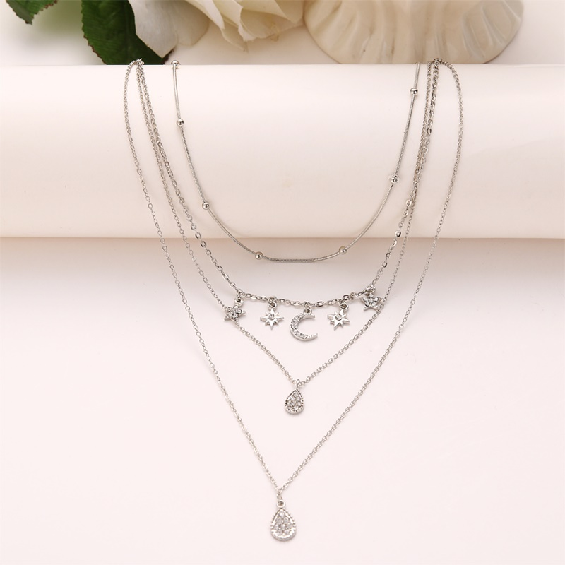 Crystal Moon Stars Multilayer Necklace 1