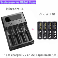 Golisi 4pcs S30 IMR 18650 3000mah MAX 35A E CIG rechargeable battery for VAPE with Nitecore New I4 Digi charger LCD Intelligent