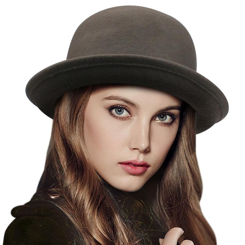 DOSOMI Fashion Women Wool Fedora Hats Cute Lady Bowler Hats Women Girls Autumn Winter Warm Cap