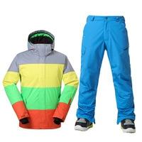 GSOU SNOW Brand Winter Men Ski Suit Waterproof Snowboard Sets Outdoor Skiing Snowboarding Ski Jacket+Ski Pants Size S XL