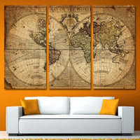 3 Panels Vintage World Map Canvas Painting Home Decor Wall Art Painting Canvas Prints Pictures For