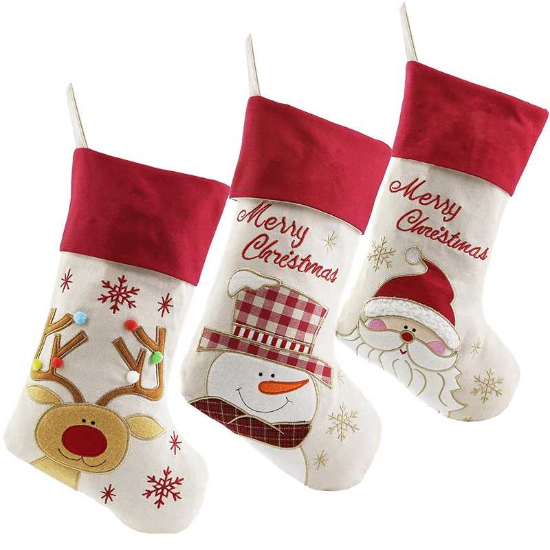 Lovely Christmas Stockings Set of 3 Santa, Snowman, Reindeer, Xmas Character 3D Plush Linen Hanging Tag Knit Border