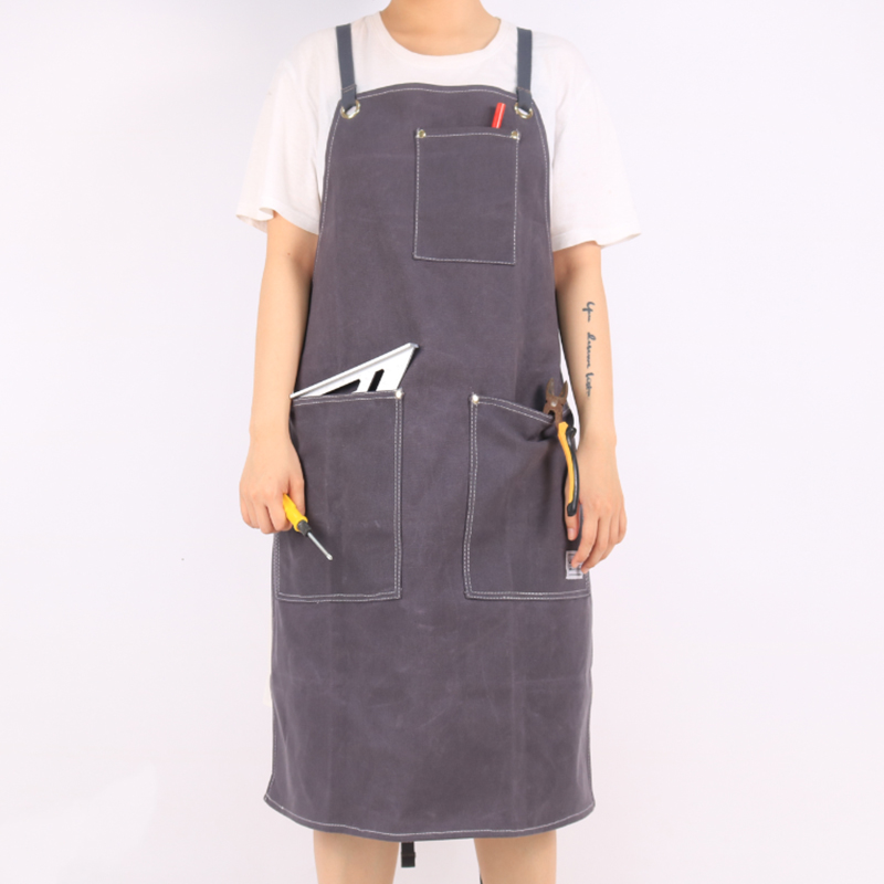 WEEYI Heavy Duty Grey Waxed Canvas Work Apron with Pockets Cross Back Straps for Hard Work Uniform Men and WomenWEEYI Heavy Duty Grey Waxed Canvas Work Apron with Pockets Cross Back Straps for Hard Work Uniform Men and Women