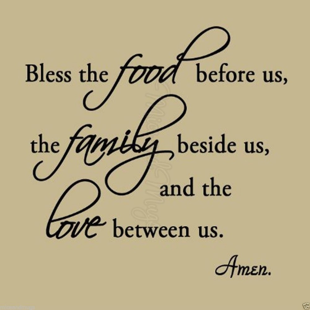 Kitchen Vinyl Wall Decal Bless The Food Before Us Family
