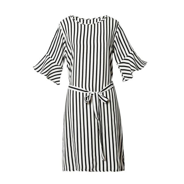 5ec4d580d80c1 Real Silk Striped Dress 100% Mulberry Silk Women Summer Butterfly Sleeve  Sashes Dresses L XL FREE SHIPPING