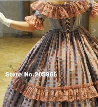 CUSTOM MADE 4 pieces 1800s Tartan Victorian Bridal Civil War Steampunk Plaid Ball Gown Dress Party