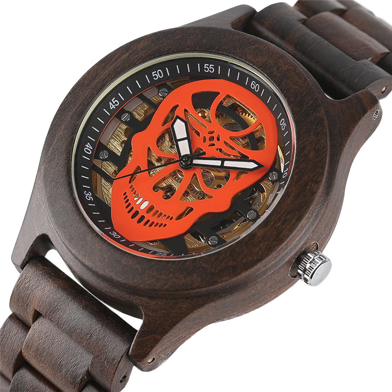 Luxury Cool Design Men's Mechanical Watches Skeleton Skull Dial Hand-made Wooden Bamboo Case Bracelet Clasp Natural Watch Gift natural hand made classic red wooden men quartz watch bracelet clase full wood band simple scale dial cool gift reloj masculino