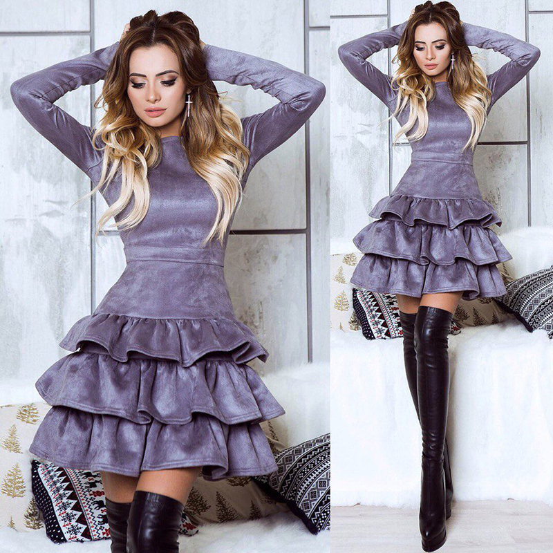 SORCHIDF Women's Ruffles Dress 2017 Autumn Winter Long Sleeve Cake Dresses Casual Mini Dress Ruffled Dress Vestidos Clothing 7