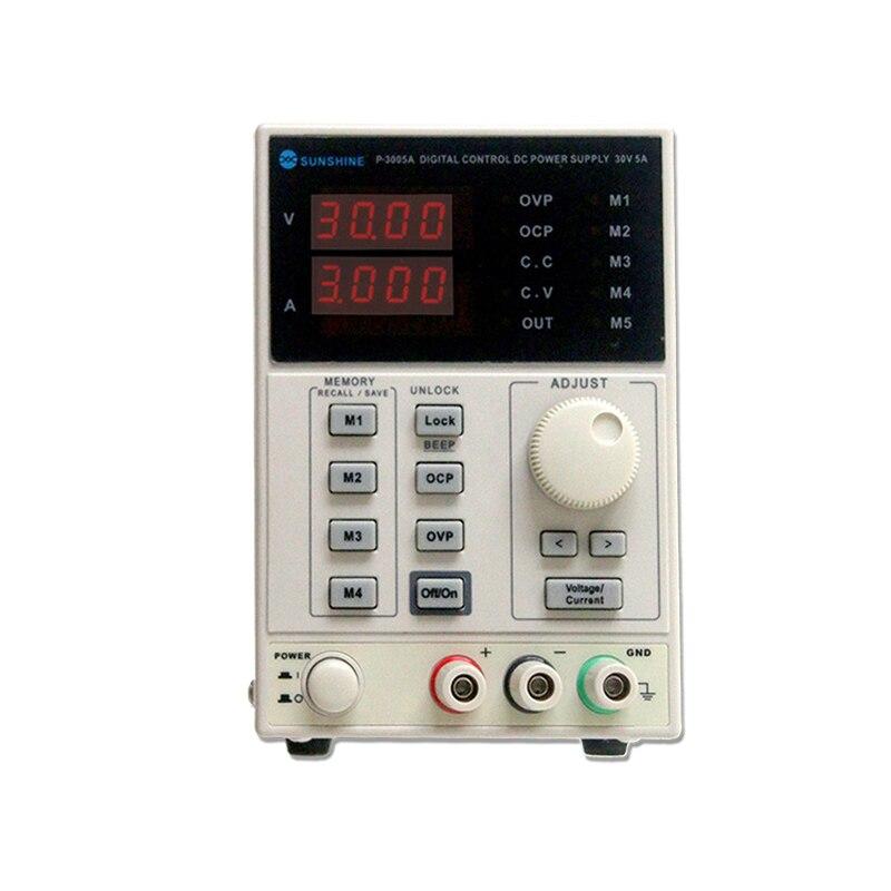 Précision 30 V 5A DC Alimentation P-3005A Numérique Programmable Réglable 4 Bits Numérique affichage Précis Laboratoire Alimentation