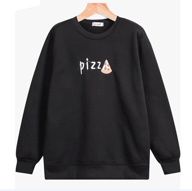 Letter Pizza Hoodies Sweatshirts 2019 Women Casual Kawaii Harajuku New Sweat Punk For Girls Clothing European Tops Korean