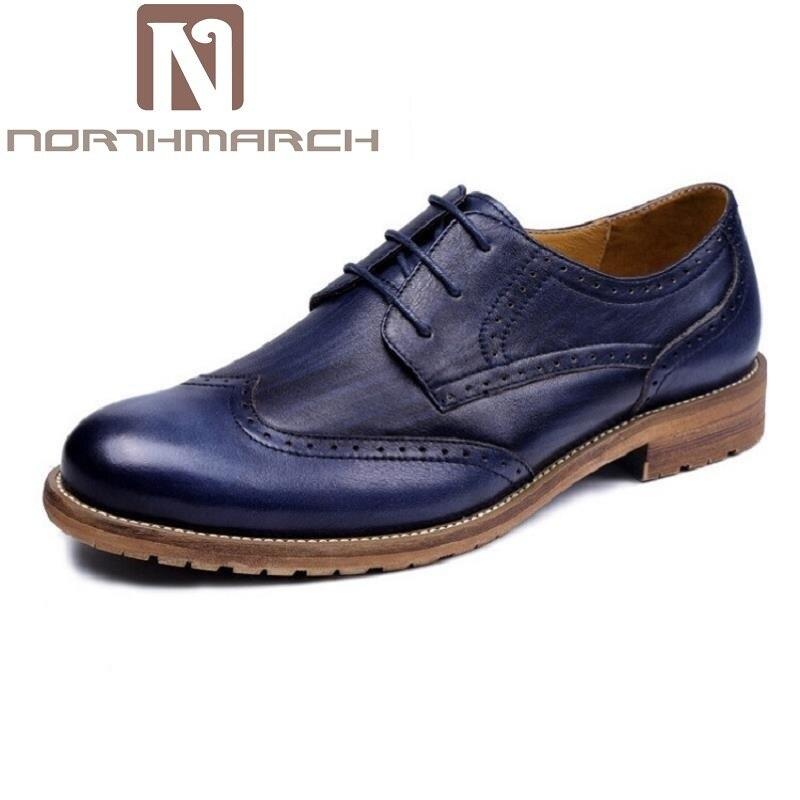 Italiano marrom Northmarch Brogue Luxo Escritório Genuíno Homens Designer De Dos Para Básicos Sapatos Couro Casamento Apartamentos Azul Formais Vestir xB1wBgq
