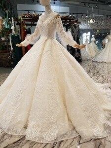 Image 3 - LS354711 Bá Tước Tàu Công Chúa Váy Áo 2018 Sweetheart Tay Dài Bầu Áo Cưới Mua Trực Tiếp Блестящее Платье