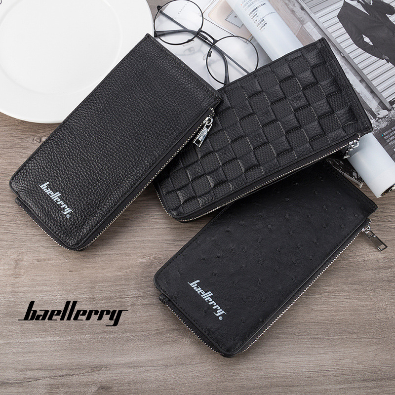 Brand quality men's cards holder wallet for Mobile Phone genuine leather clutch wallets for women coins pocket zipper pouch bag
