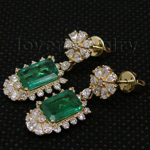 553d91a25680 14K Yellow Gold Natural Gemstone Emerald Female Earrings Real Diamond 585  Gold Lady Drop Earrings Women Party Fine Jewelry Gift-in Earrings from  Jewelry ...