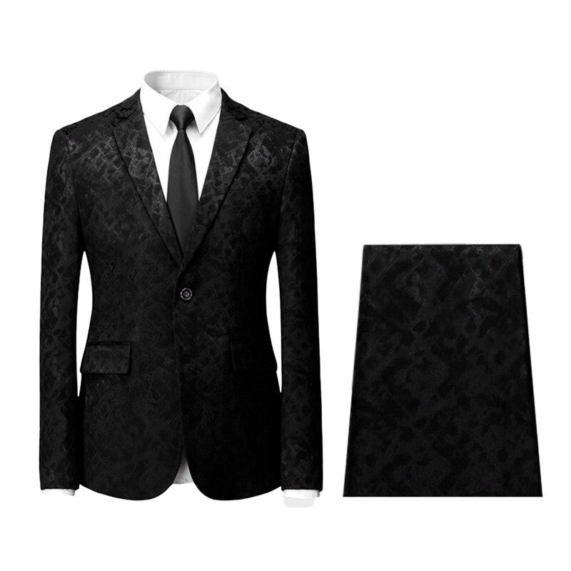 YUNCLOS 2 piezas Jacquard hombres trajes solo pecho chaqueta y pantalón  Tuexdos Casual traje Slim fit hombres boda vestido en Trajes de La ropa de  los ... 6ab72bfee00
