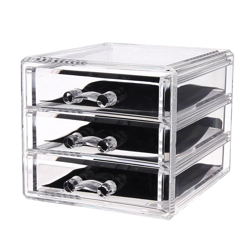 3 Drawers Acrylic Makeup Organizer Lipstick Holder Nail Polish Clear Plastic Cosmetic Storage Box Jewelry Case
