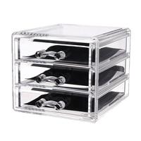 3 Drawers Acrylic Makeup Organizer Lipstick Holder Nail Polish Clear Plastic Cosmetic Storage Box Jewelry