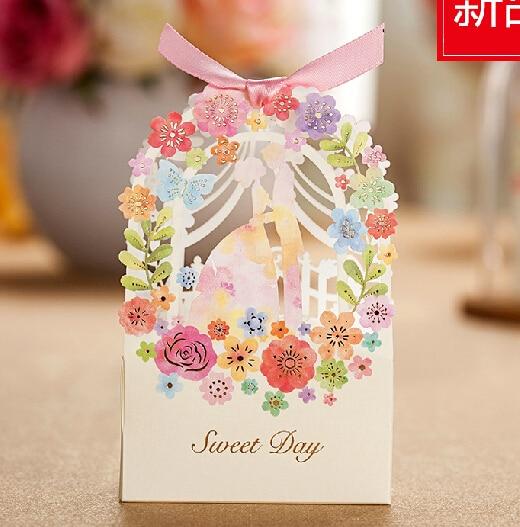 30pcs Wedding Gift Box Elegant White Luxury Guest Flower Bride Laser Cut Party Sweet