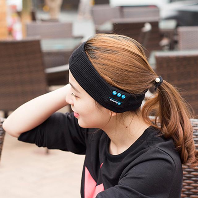 Vapeonly Wireless Bluetooth Headphone Knitting Music Headband Headset w/ Mic for iphone7 8 Running Yoga Gym Sleep Sport Earphone
