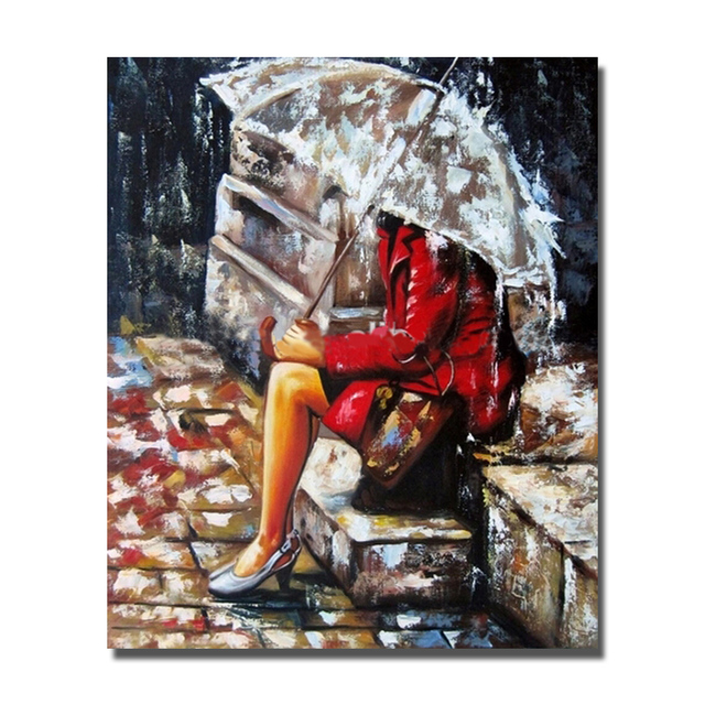 Rain Weather The Red Dress Women Under The Umbrella Beautiful Knife Hand Painted  Painting Wall