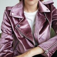 2018 Autumn Women Soft Smooth Purple Velvet Jackets Ladies Slim Fit Full Sleeve Luxury Streetwear Zipper