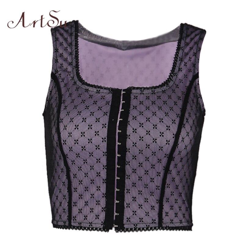 ArtSu Fashion Polka Dot Mesh Crop   Top   Sexy Sleeveless   Tank     Tops   Women Bohemian Bralette Cami Black Purple   Top   Summer ASVE20519