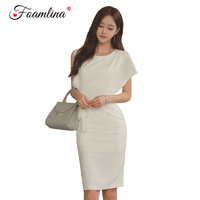 Foamlina 2018 Summer Dress Women Elegant White Irregular Cutting Sleeveless Slim Fit Casual Work Wear Party Bodycon Pencil Dress