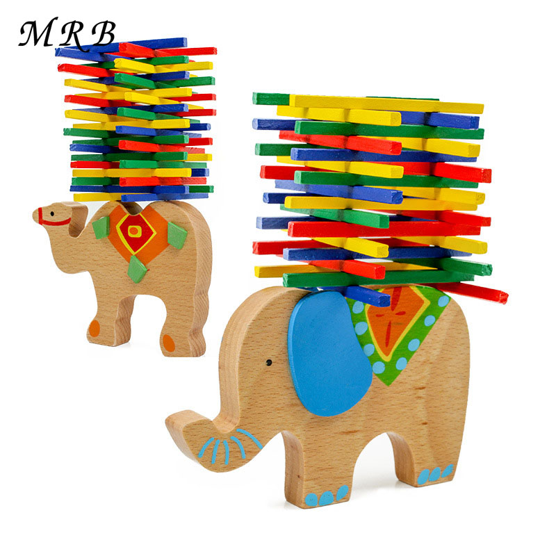 Montessori Kids Toys Educational Camel/Elephant Balancing Blocks Wooden Toys Beech Wood Balance Game Blocks Gift For Child jaheertoy baby toys figure building blocks lion and elephant animal pattern funny educational wooden toys montessori kids