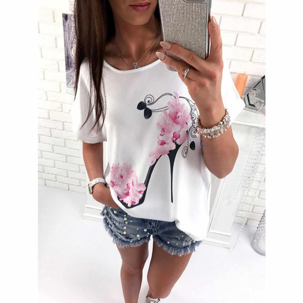 Новые поступления Fashi короткий рукав на высоком каблуке Топы пляжная одежда свободного кроя в повседневном стиле Блуза Топ рубашка женские футболки повседневная женская обувь рубашки