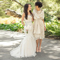 Fashion bridal mother dresses! Classic scoop with jacket gown high quality handmade knee length bridal mother dresses