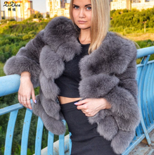 Short Natural Genuine Fox Fur Overcoat Winter Warm Real Fur Coat For Women Real Fur Jacket Striped Style 161029-1