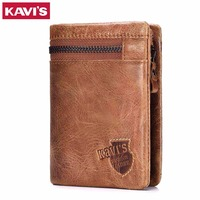 KAVIS Genuine Leather Wallet Men Coin Purse With Card Holder Male Pocket Money Bag Portomonee Small