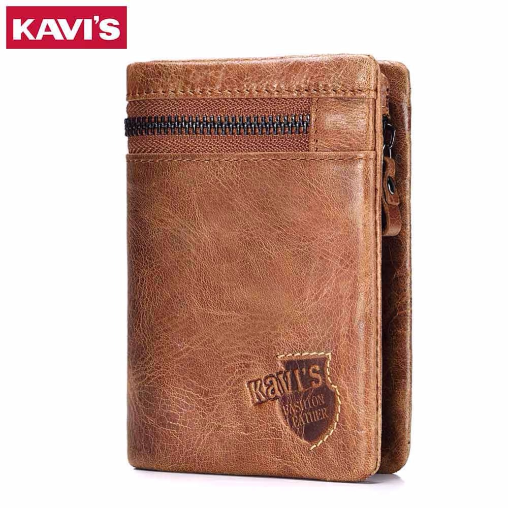 KAVIS Genuine Leather Wallet Men Coin Purse with Card Holder Male Pocket Money Bag Portomonee Small Walet PORTFOLIO for Perse denim small mens wallet canvas men wallets leather male purse card holder coin pocket cloth zipper money bag cartera hombre
