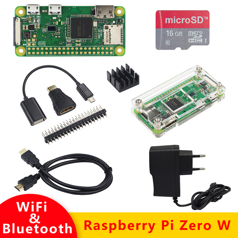 Zero W kit Raspberry Pi 512 MB RAM on-board WiFi & Bluetooth + Caso Acrílico + Dissipador de Calor para Raspberry Pi 0 W Beter do que Zero 1.3