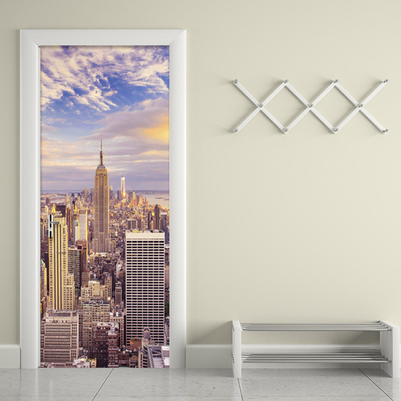 3D Wallpaper City Building Photo Wall Mural Living Room Office Door Mural Sticker PVC Eco-Friendly Vinyl Wallpaper Door Stickers custom mural wallpaper creative space forest path 3d wall sticker wallpaper modern living room bedroom door mural pvc home decor