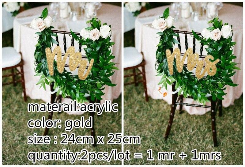 Кресло знаки для свадьбы-блеск золота Mr & Mrs свадебные стул знак для Приём, стул украшения