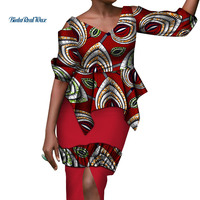 New African Clothes Women Ruffles Top and Draped Skirt Bazin Riche Dashiki African Ankara Print 2 Pieces Skirt Sets WY3522