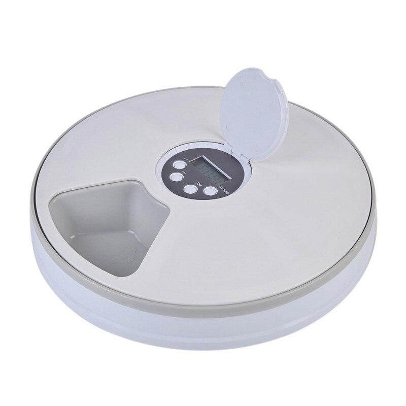 Minuterie numérique Ronde Automatique mangeoire pour animal domestique 6 Repas Distributeur De Nourriture Pour Chiens Et Chats - 5