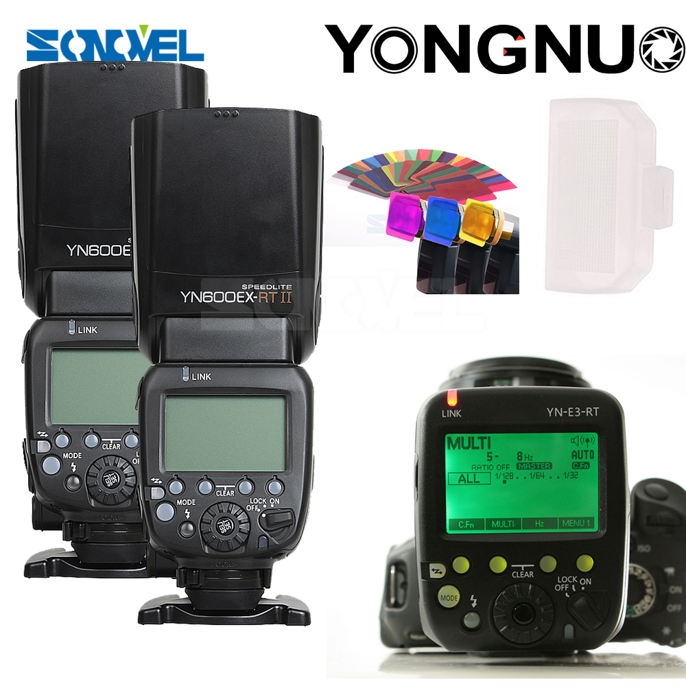 YONGNUO 2x YN-600EX-RT 2.4G Wireless HSS 1/8000s Master Flash Speedlite + YN-E3-RT Flash Trigger for Canon EOS Camera yongnuo 3x yn 600ex rt ii 2 4g wireless hss 1 8000s master flash speedlite yn e3 rt flash trigger for canon eos camera 5d 6d