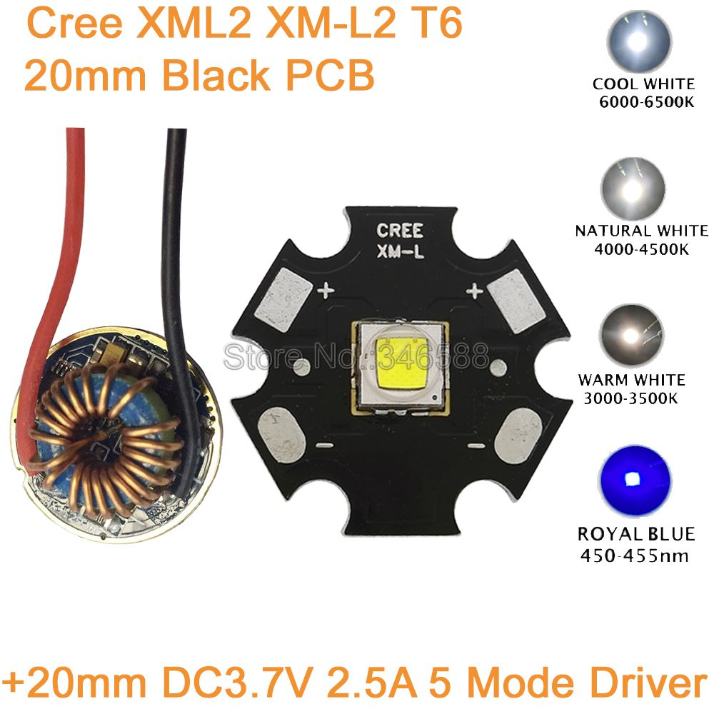 CREE XML2 XM-L2 T6 10W Cool White Neutral White Warm White High Power LED Emitter 20mm Black PCB+ 12V Input 20mm 5 Modes Driver