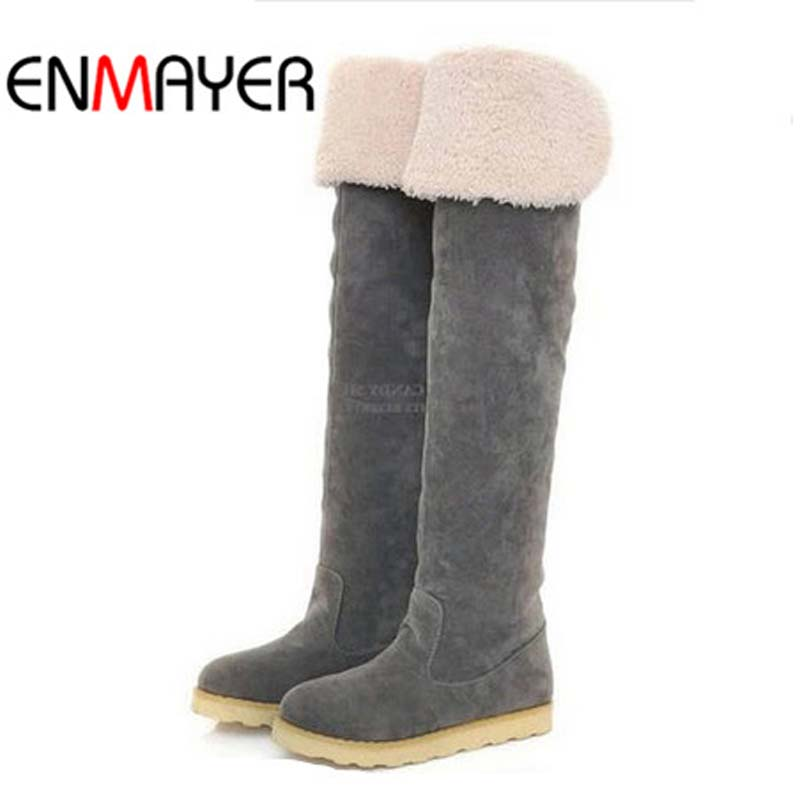 ENMAYER Over-the-Knee Boots For Women Big Size34-43 Flock Round Toe Winter Nubuck Leather Long Boots Women New Flats Motorcycle цена